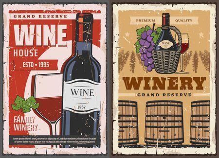 Wijnbereidingshuis en wijn grand reserve kluis vintage posters. Vectorwijnproductiefabriek, houten vaten en rode wijnglas, wijngaarddruivenblad en premium kwaliteitslint