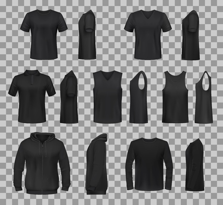Women clothes black templates and sportswear apparel 3D realistic mockup models. Vector isolated t-shirts, sport tank tops and hoodies, casual polo or sleeveless shirt templates front and side view