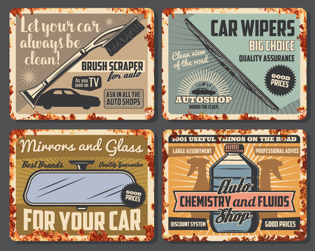 Car accessories, vehicle spare parts and auto fluids shop rusty vintage posters. Vector windshield winter scraper, wiper blade and rear-view mirror, engine coolant and chemistry liquids on rust plates Illustration