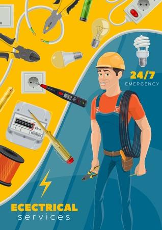Servicio de emergencia de electricista o profesión de reparador eléctrico con herramientas de reparación de electricidad. Vector de cables y alambres de alimentación eléctrica, herramienta de probador de voltaje de enchufe, hombre electricista y bombilla