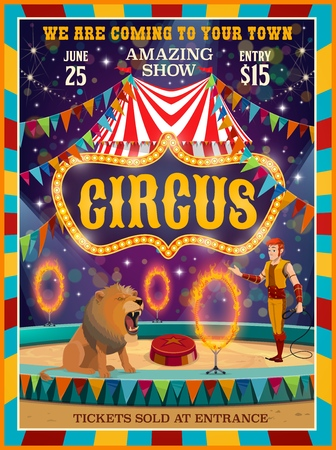 Big top circus entertainment show poster. Vector circus amusement carnival performance, tamer with lion animal on pedestal jumping in fire rings on arena with lights and flags Иллюстрация