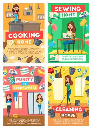 Home cleaning, housewife cooking and sewing service. Vector house laundry, dishwashing or floor mopping and clean kitchen service, professional housekeeping, needlework and windows washing Illustration