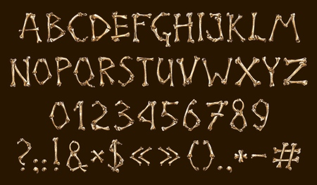 Dia de los muertos, alphabet and numbers, bones. Vector Mexican holiday of dead, abc and digits, question and exclamation marks, letters font, lettering and text. Festive typography element design