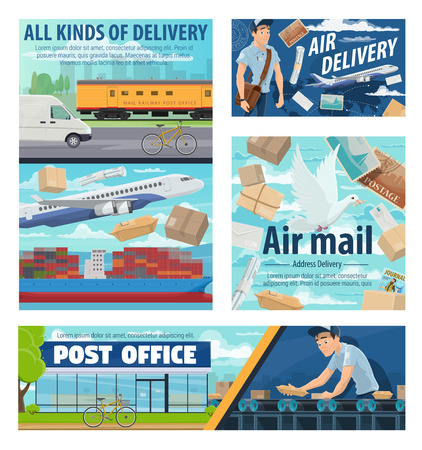 Post office, courier and mail delivery service, shipping cargo transport. Vector avia and railway postal logistics of correspondence magazines, letter envelopes and parcels at post warehouse