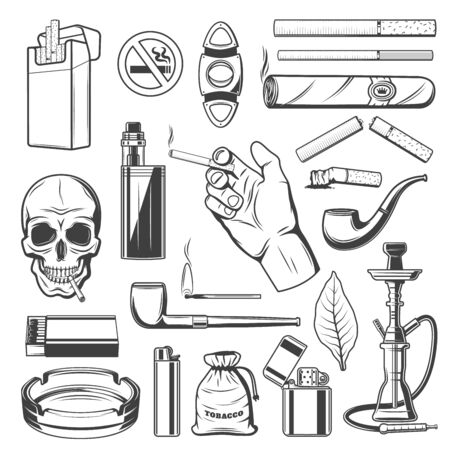 Sigari, sigarette e prodotti del tabacco di prima qualità, accessori per fumatori. Teschio vettoriale con sigaretta e segno di smettere di fumare, cartuccia di tabacco da vape e accendino con tagliasigari, narghilè e narghilè