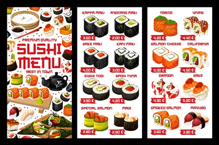 Sushi Japanese bar and Asian restaurant menu price. Vector Japan food fish maki, salmon California sushi and seafood or tuna rolls menu set, rice, wasabi with ginger and Japanese chopsticks