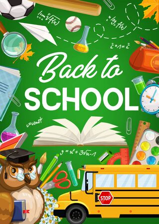 Back to school green chalkboard poster with owl teacher, school bus and education supplies. Vector back to school student study items, pencil and notebook, paper plane, football ball and ruler