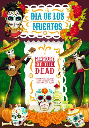 Day of Dead Mexican Dia de los Muertos party fiesta poster of skeletons in sombrero playing guitar. Vector Dia de Los Muertos calavera skull with roses and marigold flowers, pumpkin and candles
