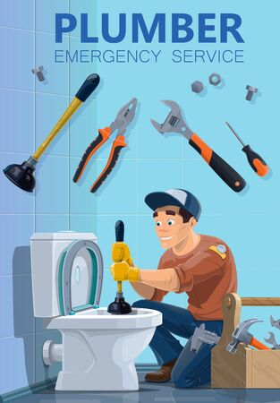 Plumber and emergency plumbing repair service, worker with work tools. Vector plumber man cleaning toilet with plunger, wrench and tools box, home sewage pipeline maintenance