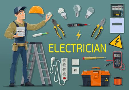 Electrician with electrical tools and equipment, power industry profession vector design. Electric engineer or wireman in uniform with electricity meter and tester, energy wire, light bulbs and cable Ilustracja