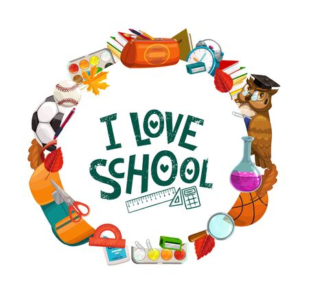 Back to school education and student study banner. Vector back to school classes supplies, pencil, notebook and ruler in school bag, basketball ball, watercolors and ruler, eraser and magnifier Illustration
