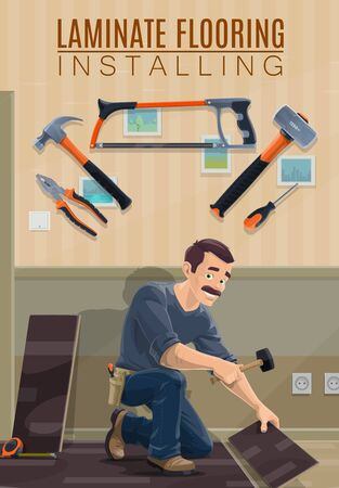 Builder, carpenter or joiner installing laminate flooring with work tools vector design. Cartoon man laying laminate panels with hammers, screwdriver and saw, pliers, tape measure and ruler Иллюстрация