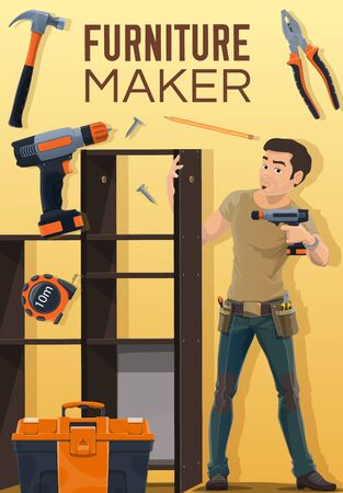 Furniture assembly service, furniture maker professions. Vector repairman with drill, hammer and woodwork pliers assembling modular shelf, professional installation work, furniture construction Illustration