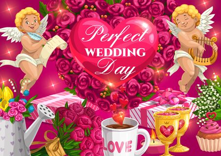 Wedding day greeting calligraphy, heart balloon and roses flowers. Vector wedding party celebration, cupid angles with golden harp, wedding cake, gifts and cupcakes, love potion in cups