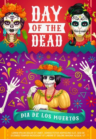 Day of Dead Mexican Dia de los Muertos party poster of woman calavera skull with marigold flowers wreath. Vector Dia de Los Muertos fiesta celebration, skeleton bones and Mexican pattern ornament