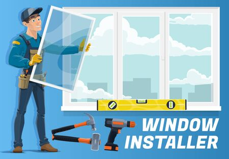 Zawód instalatora okien, firma usługowa zajmująca się instalacją okien domowych. Wektor stolarz z narzędziami ręcznymi, młotem wiertarskim i poziomem linijki instaluje szklane ramki w domu