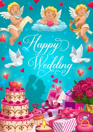 Happy wedding vector greeting card with bride, groom, rings and gifts. Chocolate cake, rose flower bouquet and hearts, love letter envelope, Cupids and dove birds, candle, ribbon and bows