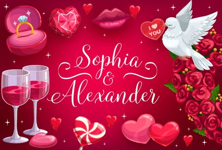 Wedding, bride and bridegroom names calligraphy template. Vector Save the Date marriage invitation, roses flowers and hearts, kiss lips and dove with love message, wedding ring and hear candy Illustration
