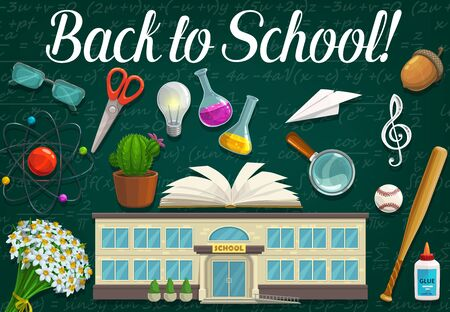 School and student education supplies on classroom blackboard, Back to School design. Vector book, notebook and scissors, pupil items, glue and magnifier, atom, baseball ball, bat and chalkboard