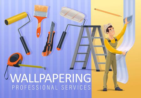 Home renovation, wallpaper applying and interior wallpapering service. Vector repairman apply wallpaper on wall with roller and scraper, handyman home remodeling repair tools Reklamní fotografie - 128162044