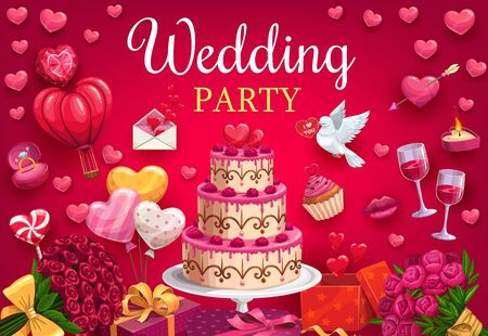 Wedding party, multi-layer cake and marriage attributes. Vector flower bouquets, wine glasses and envelope with hearts. Broken heart and engagement ring with diamond, burning candle and dove