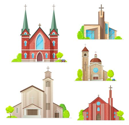Church buildings, cathedral, chapels and monastery facades icons. Vector isolated Medieval cathedral, and modern church, Christian orthodox, catholic and evangelic religious architecture Illustration