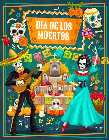 Day of the Dead vector greeting card with Mexican sugar skulls and skeletons of mariachi and Catrina, festival sombrero, guitar and altar, marigold flowers, flag and bunting. Death holiday theme