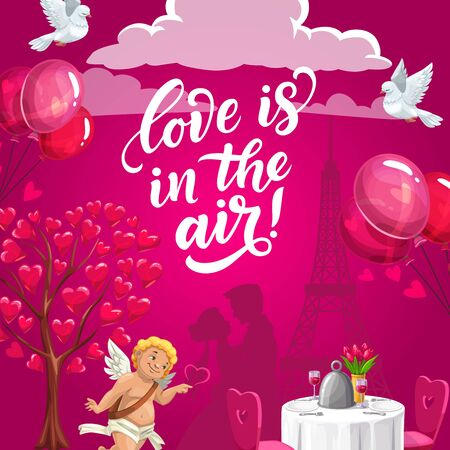 Love is in the air, romantic wedding Valentine day card. Vector served table, hugging couple and Eiffel Tower silhouette, tree with hearts and air balloons. Flying dove and clouds, smiling cupid