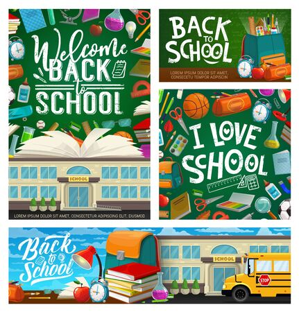 Welcome back to school, building, bus and stationery. Vector stacks of books, backpack and green chalkboard. Lamp and flasks, pencil case and apple snack, glasses and sharpener, open textbook