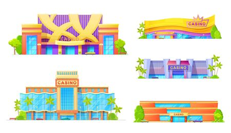 Casino buildings isolated exterior design with parking zone. Vector gambling game palaces, nitghclubs to play poker, entertainment establishments. Facade of modern architecture, gambling houses