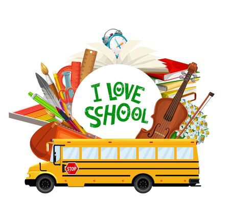 Back to school banner, education supplies books and study items in school bus. Vector I love school lettering, classes copybooks and student notebooks, ink quill pen and pencil, clay and music violin