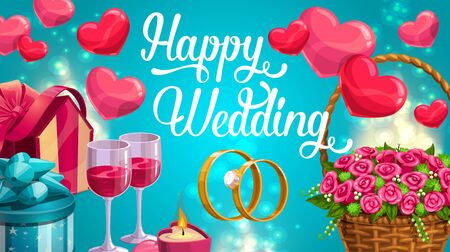 Happy wedding day, invitation card on blurred blue. Vector realistic wineglasses and engagement rings, basket with rose flowers and wrapped presents gifts. Hearts symbols of love, burning candle