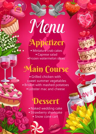 Wedding day menu template, bride and groom silhouettes and frame of marriage symbols. Vector couple of doves, strawberry in chocolate, cake. Appetizers and main courses, desserts and flower bouquets