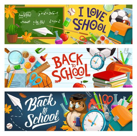 Back to school, owl in glasses and graduate cap, education supplies and student bag. Vector I love school banner with pencil, notebook, owl teacher in glasses and clock, watercolors and paper plane Illustration