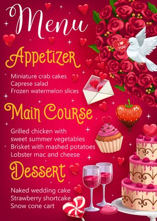 Menu on wedding day, food and drinks. Vector appetizer and main courses, desserts on marriage party celebration. Flower bouquet and raspberry in chocolate, flying dove and cake or cupcake, lollipop Illustration