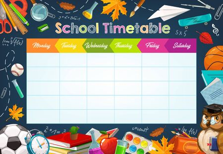 School timetable, weekly classes schedule on blackboard background. Vector school timetable chalk sketch schedule, education supplies and student study items, basketball ball, books and pens