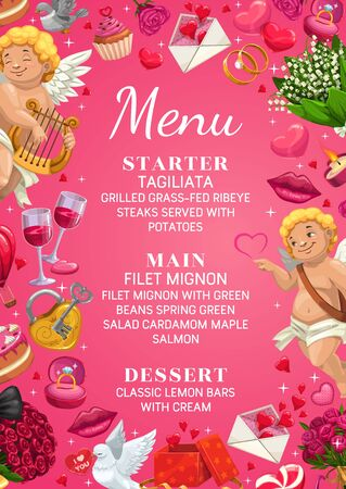 Wedding day menu template, starter, main course and desserts. Vector engagement party accessories, flying cupids and doves, rose lily flower bouquets. Lips kiss and engagement rings, letters of love