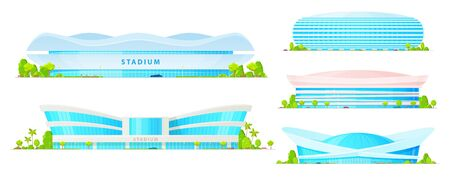 Bâtiments de stade et d'arène sportive de football, football, basket-ball et baseball, pistes d'athlétisme et champs d'icônes vectorielles. Architecture de ville moderne, constructions sportives avec façades en verre, lumières Vecteurs