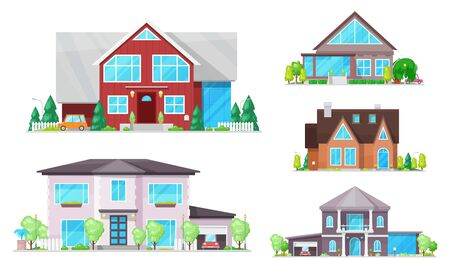 Buildings vector design of house, home, cottage and villa icons. Town and village properties, double storey houses with windows, doors and roofs, garages, garden trees and lights. Real estate themes Illustration