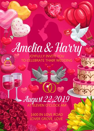 Invitation on wedding party, bride and groom names, save the date. Vector man and woman silhouettes, frame of love symbols. Welcome on engagement, couple of doves, flower bouquets, cake and hearts