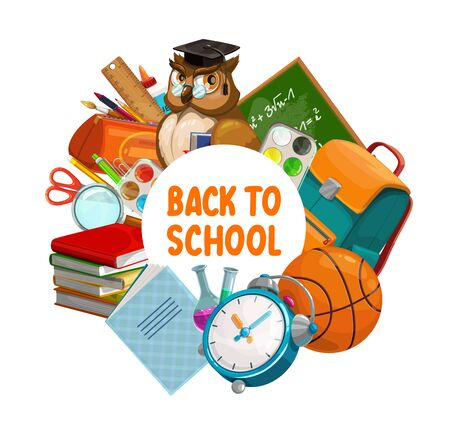 Back to school banner, owl in teacher glasses and graduate cap, education supplies and green chalkboard. Vector back to school study items, watercolors, pen, pencil and classes books in school bag