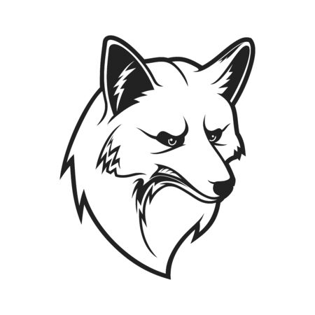 Fox head icon, wild canine animal muzzle. Vector outline fox head symbol of sport team mascot, hunting club badge or zoology animal and wildlife zoo sign