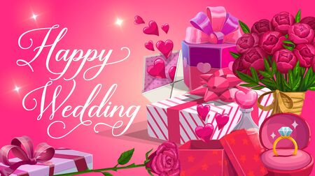Happy wedding, lettering and gift boxes, bouquets of flowers. Vector marriage party invitation, engagement ring and wrapped presents. Elixir and hearts, letter envelope with declaration of love