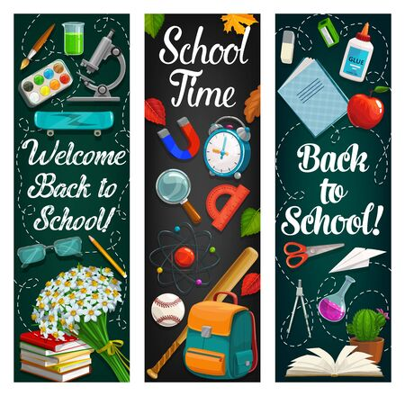 Back to school vector banners of student education supplies on blackboard. Book, notebook and backpack, microscope, scissors and glue, alarm clock, pencil and sharpener, lab glass, paint and ball