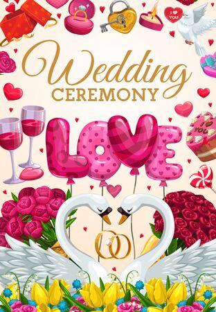 Wedding ceremony lettering and engagement party symbols. Vector couple of swans, peony and rose flower bouquets, wine glasses and love of air balloons. Marriage day, rings and dove, burning candle Stock Illustratie