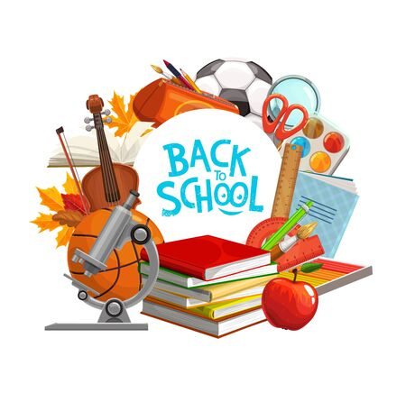 Back to school education supplies and student classes books. Vector back to school banner with study items, watercolors, pen, pencil and biology microscope, apple and magnifier, music violin and leaf