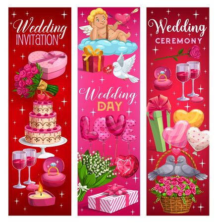 Wedding day, invitation on marriage ceremony, calligraphy lettering. Vector engagement ring, holiday cake and glasses of wine, gifts and flower bouquets. Lilies and cupid on cloud, couple of doves Illustration