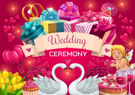 Wedding day, marriage ceremony party, Save the Date invitation. Vector wedding cakes and golden diamond ring, angel cupid with arrows, roes flowers and hearts in shining sparkles Illusztráció