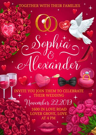 Wedding party invitation, bride and groom names lettering, Save the date. Vector marriage symbols frame, welcome to engagement ceremony. Flower bouquets and dove, ring and lips kiss, broken heart