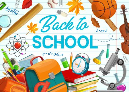 Back to school, education supplies and student classes items on copybook background. Vector back to school poster, chemistry beaker and biology microscope, pens and pencils in school bag Illustration